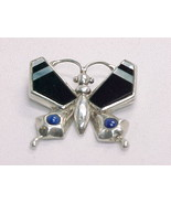 BUTTERFLY PENDANT in STERLING Silver with LAPIS, BLACK ONYX, and MOTHER ... - $75.00