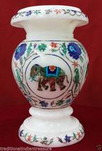 "7"" White Marble Flower Vase Jar Rare Elephant Inlay Mosaic Art Table Decor Gifts - $260.75"