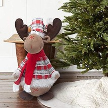 GMOEGEFT Handmade Christmas Reindeer Plush Rudolph Rustic Plaid Moose St... - $21.62