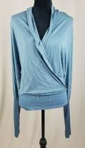 Young Fabulous Broke women S/M faux warp batwings blouse long sleeve blue - $30.66