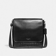 Coach Charles Small  Messenger debossed F72220 Black Leather Messenger Bag - $139.00