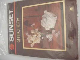 "Vintage Sunset Stitchery Kit 2870 Tulips and Lace Box Finished 4"" x 4"" x... - $12.86"