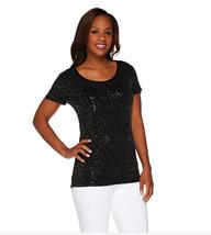 NEW Isaac Mizrahi Live Short Sleeve Scoop Neck Sequin T-Shirt Shirt Top ... - $29.65