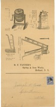 Tanner's spring iron works Co advertising mailer Holland NY 1850 - $65.00