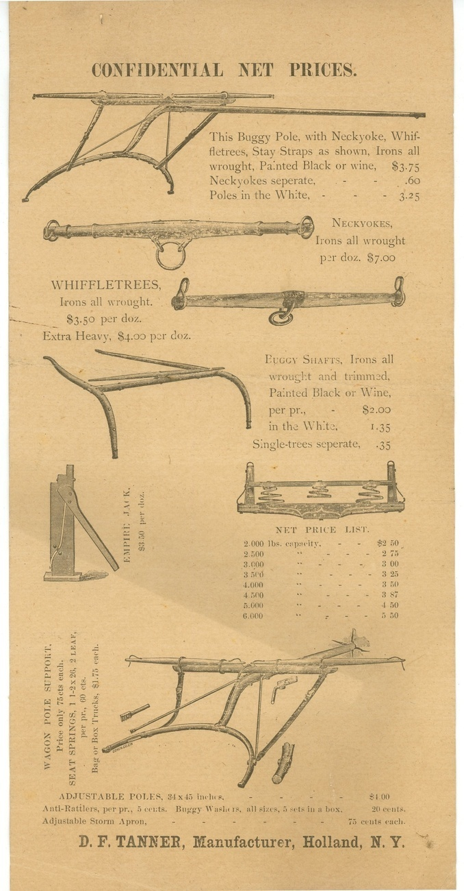 Tanner's spring iron works Co advertising mailer Holland NY 1850