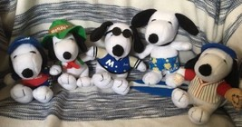 Lot Of 5 Peanuts MetLife Snoopy Plushes *Joe Cool Surfer Baseball NASCAR... - $26.00