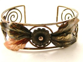 Vintage Sterling Silver Brass Copper 3 tone Copper Bracelet - $64.99