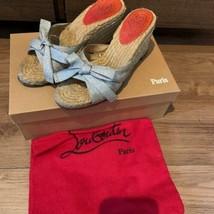 Christian Louboutin Compensé Semelle Sandales Talon Chaussures Raphia Ruban EU36 - $174.84