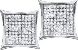 Sterling Silver Womens Round Diamond Square Kite Cluster Stud Earrings 1/10 Cttw - $35.00