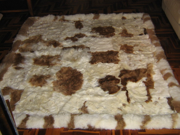 Baby alpaca fur carpet, natural braun white spots, 300 x 280 cm/ 9'84 x 9'18 - $2,204.00