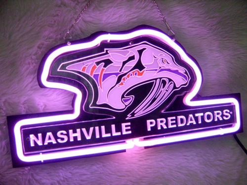 "NHL Nashville Predators Beer Bar 3D Purple Neon Light Sign 12"" x 9"""
