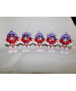 M Ms Red Purple Spinning Rabbit Ears Hat lot of 5 Dispenser 3 inch Tall - $7.99