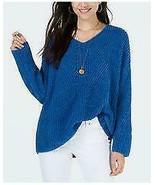 $54.50 Style & Co Cozy Chenille V-Neck Sweater, Ocean Tide (Blue), Size L - $20.79