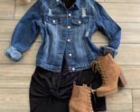 Distress Jean Boyfriend Women Button Casual Jacket - $38.81