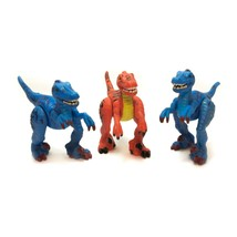 Lot of 3 2006 Mattel Imaginext Shreds The Raptor Blue & Red Dinosaur - $19.77