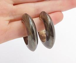 925 Sterling Silver - Vintage Dark Tone Smooth Round J-Hoop Earrings - E... - $35.26