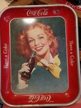 """VINTAGE COCA COLA SERVING TRAY """"RED HAIRED GIRL"""" 1948 RARE SCARCE ORIGINAL - $148.50"""
