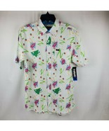 TONY HAWK Men's White Retro Flamingo Short Sleeve Button Down Shirt Size... - $29.95