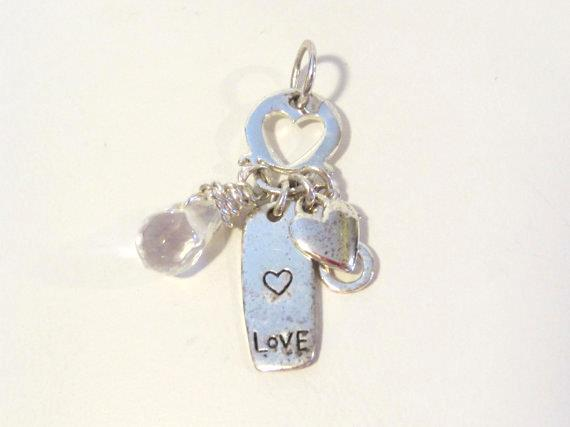 Sterling silver 925 Love Crystal bead pendant