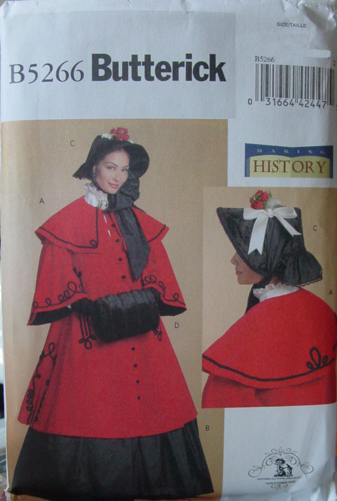 Pattern 5266 Civil War, Victorian Cloak, Skirt, Muff & Hat Multi sz 16-22