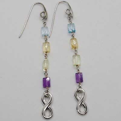 EARRINGS SILVER 925 TRIED AND TESTED WITH INFINITY QUARTZ CITRINE TOPAZ AMETHYST