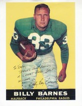 BILLY BARNES AUTOGRAPHED 8.5 X 11 PAPER PICTURE PHILADELPHIA EAGLES INSC... - £7.41 GBP