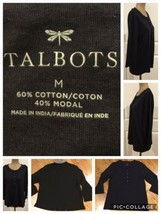 TALBOTS Ladies Top Size Med. Long Sleeves Black 60% Cotton 40% Modal But... - $8.90