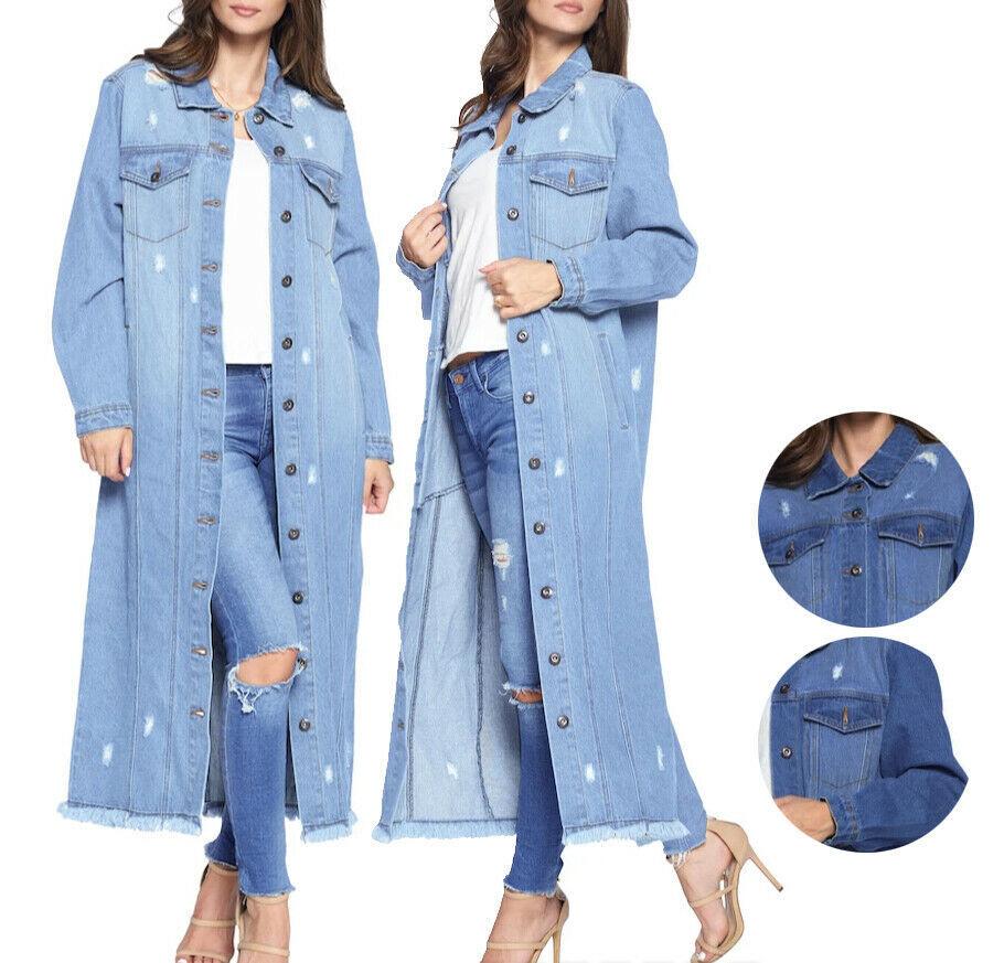 Women's Oversize Long Button Up Distressed Cotton Denim Classic  Jean Jacket
