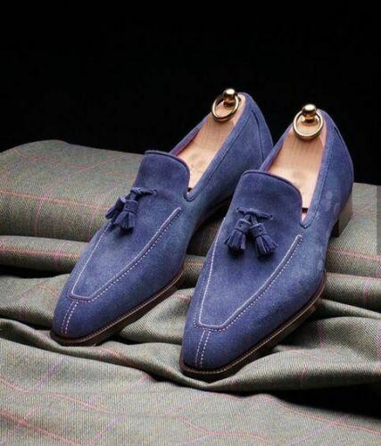 Handmade Men's Blue Suede Tassel Slip Ons Loafer Shoes