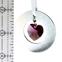 Aluminum Circle and Crystal Heart Ornament image 2