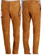 Men's New Native American Tan Golden Buckskin Suede Leather Cowboy Pant ... - $79.00+