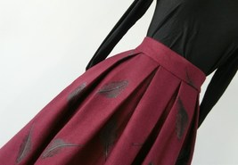 Black Winter Wool A Line Pleated Skirt High Waist Midi Skirt with Wing Patterns image 8