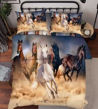 3D Running Horse Bed Pillowcases Quilt Duvet Cover Set Single Queen King Size AU - $90.04+
