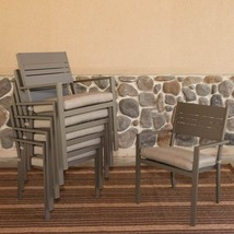 Somette Aluminum Stackable Dining Chairs with C... - $461.33