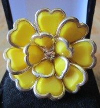 Vintage Yellow Enamel Silver Tone Flower Dangle Earring and Ring Set - $19.99
