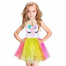 Unicorn-Costume-for-Girls-Tutu-Dress-Rainbow-Sequin Dress for Birthday P... - $31.68