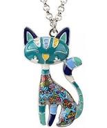 BONSNY Statement Enamel Alloy Chain Cat Necklaces Pendant Original Desi... - $42.94