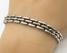 ITALY 925 Sterling Silver - Vintage Puffy Brick Pattern Bracelet - B2486 - $48.71