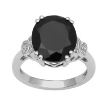 Sterling Silver Oval Cut Black Spinel & White Topaz Solitaire Women Wedd... - $29.25