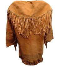 Men's New Native American Mountain Man Golden Brown Buckskin Goat Suede Shirt G8 image 3