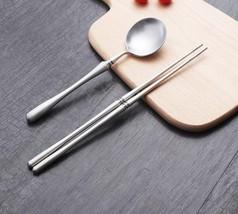 Stainless Steel Chopstick And Spoon Set Dinnerware Dessert Spoon Long Ha... - $25.81