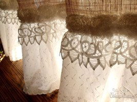 Custom French SHABBY Rustic Chic Burlap SHOWER Curtain Valance Lace Ruff... - $113.81