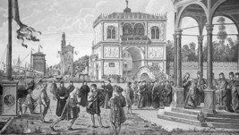 ITALIAN ART Legend of Ursula Ambassadors by Carpaccio - 1888 Original Print - $14.40