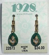 1928 Jewelry Enamel Green Egg Shaped Earrings w Clear Crystal Dangle New... - $19.75