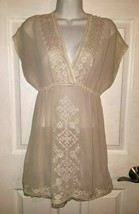 Forever 21 XXI Dress Flare High Low Short Sleeve Embroidered Sheer Ivory... - $20.79