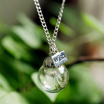 Fantistic Wish Glass Necklace Dandelion Seeds in Glass Pendant Long Chain Gift - $9.89