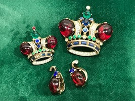 TRIFARI Sterling Silver CROWN Jelly Belly Large & Small Brooch Pin Clip ... - $339.50