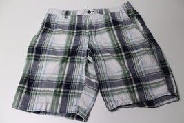 M4136 Mens GAP blue and green plaid SHORTS, 100% COTTON, back button poc... - $27.03