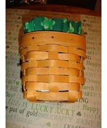 Longaberger Chives Basket With Protector And Homemade Shamrock Liner - $22.99