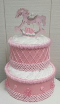Light Pink and Gold Rocking Horse Theme Baby Shower 2 Tier Diaper Cake O... - $42.75